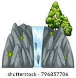 waterfall scene with tree on... | Shutterstock .eps vector #796857706