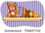 teddybears and balls on wooden...