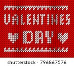 knitted red valentine's day card | Shutterstock .eps vector #796867576