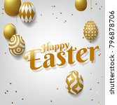 happy easter background with... | Shutterstock .eps vector #796878706