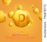 vitamin d gold icon. retinol... | Shutterstock .eps vector #796878772
