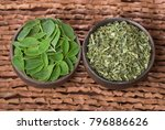 fresh and dried moringa leaves  ...   Shutterstock . vector #796886626
