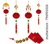 set of  red chinese lanterns... | Shutterstock .eps vector #796901026