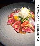 slice beef  beef carpaccio ... | Shutterstock . vector #796901752