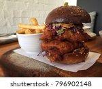 chicken burger  fine dining ...   Shutterstock . vector #796902148