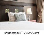 comfort pillow on bed with... | Shutterstock . vector #796902895
