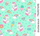 cute pastel unicorn   rainbow... | Shutterstock .eps vector #796907698