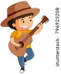 happy boy playing guitar...   Shutterstock .eps vector #796923208
