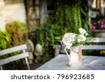 a bouquet of white roses in a... | Shutterstock . vector #796923685