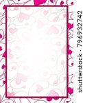 swirly heart border in vector... | Shutterstock .eps vector #796932742