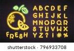 fresh fruit neon light glowing... | Shutterstock .eps vector #796933708