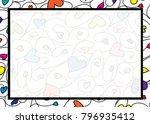 swirly heart border in vector... | Shutterstock .eps vector #796935412