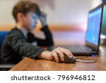 little computer dependent gamer ... | Shutterstock . vector #796946812