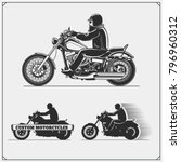 Set Of Motorcycles. Emblems Of...