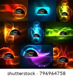 set of glowing abstract shapes... | Shutterstock .eps vector #796964758