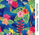 tropical seamless pattern with... | Shutterstock .eps vector #796977976