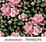 watercolor flower pattern black ... | Shutterstock . vector #796980298