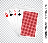 four aces in five card poker... | Shutterstock .eps vector #796989478
