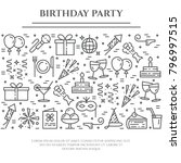birthday party banner with... | Shutterstock .eps vector #796997515