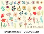 Stock vector collection of vector cute florals in rustic simple style great for fabric designs 796998685