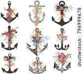 collection of beautiful anchors ... | Shutterstock .eps vector #796999678