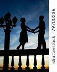 silhouette of young couple... | Shutterstock . vector #79700236
