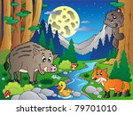 Forest Scene With Various...