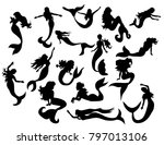 silhouette of a mermaid... | Shutterstock . vector #797013106