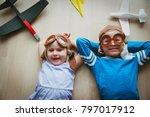 happy kids with helmet and... | Shutterstock . vector #797017912