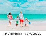 happy family with three kids... | Shutterstock . vector #797018326
