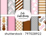 cute set of easter seamless... | Shutterstock .eps vector #797028922