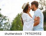 beautiful couple in love... | Shutterstock . vector #797029552