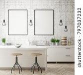 mock up poster frame in hipster ... | Shutterstock . vector #797037232