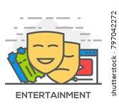 entertainment flat line concept ... | Shutterstock .eps vector #797042272