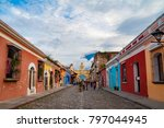 cityscape of antigua city with... | Shutterstock . vector #797044945