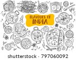 hand drawn indian food  vector... | Shutterstock .eps vector #797060092