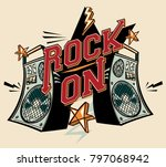 rock on   music design with... | Shutterstock .eps vector #797068942