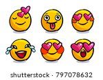 set of cute emoticons in love.... | Shutterstock .eps vector #797078632