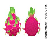 tropical red pitaya or dragon... | Shutterstock .eps vector #797079445