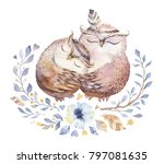 Stock photo i love you lovely watercolor illustration with sweet owls hearts and flowers in awesome colors 797081635