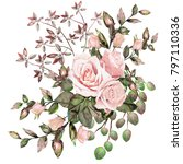 watercolor drawing of twig with ... | Shutterstock . vector #797110336
