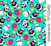 cute and funny hand drawn panda ... | Shutterstock .eps vector #797122402