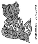 abstract fox in black and white | Shutterstock .eps vector #797128945