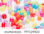 colorful plastic beads with... | Shutterstock . vector #797129422