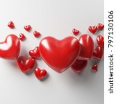 red love heart with white... | Shutterstock . vector #797130106