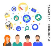 social media network and... | Shutterstock .eps vector #797139952
