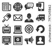 news media icons set on white... | Shutterstock .eps vector #797145862