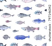 seamless pattern of doodle... | Shutterstock .eps vector #797146342