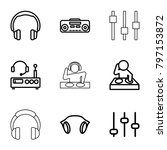 dj icons. set of 9 editable...   Shutterstock .eps vector #797153872