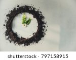 clock made of soil and plants | Shutterstock . vector #797158915